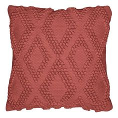 Better Homes & Gardens Dotted Diamonds Decorative Throw Pillow, 17 inch x 17 inch, Clay Brick, Beige Red Throw Pillows, Boho Pillows, Outdoor Wedding Decorations, Fall Decor, Seasonal Decor, Coordinating Colors, Better Homes, Diamond Pattern, Woven Rug