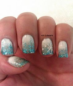 FROZEN nails Accent nail art ideas for every month of the year Get Nails, Fancy Nails, Love Nails, Pretty Nails, Sparkle Nails, Snow Nails, Winter Nails, Holiday Nails, Christmas Nails