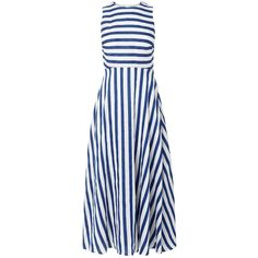 L.K. Bennett Harpa Striped Dress, Blue/White ($325) ❤ liked on Polyvore featuring dresses, day dresses, kleider, white midi dress, linen maxi dress, blue midi dress, white dress and sleeved maxi dress