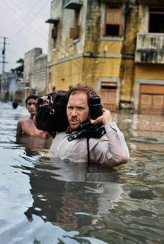 Steve McCurry in monsoon flood, Gujarat, India