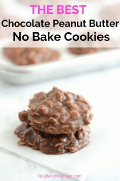 The BEST No Bake Cookies. The BEST Chocolate Peanut Butter No Bake Cookie Recipe. These Easy Peanut Butter Chocolate No Bake Cookies are a classic, loaded with oats and chocolate-peanut buttery goodness--perfect for a special treat! Cake Mix Cookie Recipes, Best Cookie Recipes, Baking Recipes, No Bake Cookie Recipe, Baking Ideas, Best No Bake Cookies, Chocolate No Bake Cookies, Oatmeal No Bake Cookies, Healthy No Bake Cookies