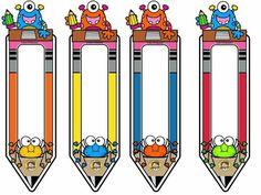 Classroom Labels Free, Classroom Charts, Classroom Board, Preschool Learning Activities, Classroom Activities, Preschool Crafts, Monster Theme Classroom, Classroom Themes, Cubby Tags