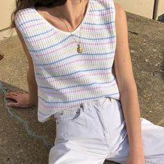 Vintage pastel striped 100% cotton knit sleeveless top xs-m $46 + shipping SOLD