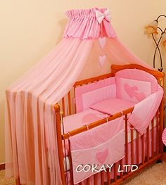Luxery 7 pcs Baby Bedding Set/Bumper/Drape/Holder to fit Cot Bed x Pink Baby Crib Bedding Sets, Pink Bedding, Baby Cribs, Little Girl Bedrooms, Girls Bedroom, Junior Bed, Bed Bumpers, Cot Sheets, Baby Room Decor