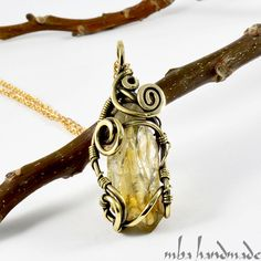 CITRINE CRYSTAL POINT NECKLACE ANTIQUED BRASS WIRE WRAPPED HANDCRAFTED GEMSTONE #MbaHandmade #Wrap