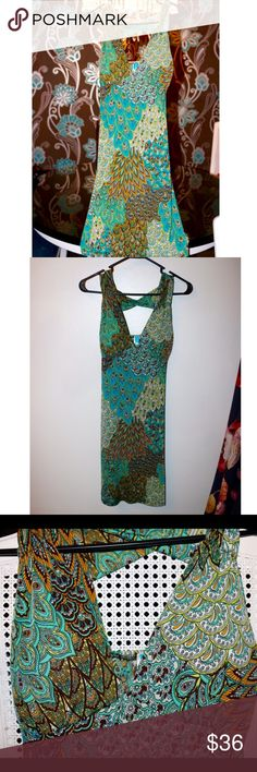 ✨Flash Sale✨Paisley Dress NWOT Brand new without tags paisley dress. Purchased from a boutique. Stretchy material. Fit beautifully when purchased but now it's to big for me and I never had a chance to wear. Cut out design in upper back and front top has a little built in padding. Size L. 95% Polyester 5% Spandex Dresses Midi