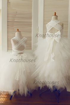 Backless Lace Tulle Flower Girl Dress Children by knothouses