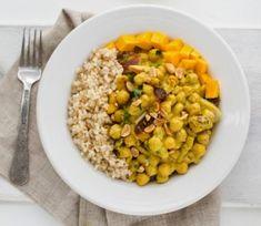 peanut chickpea curry over rice