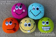DIY Free Pattern and YouTube Tutorial Video Crochet Smiley Ball Emojis or Hacky Sacks by Donna Wolfe from Naztazia