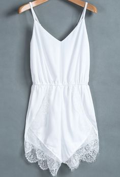 Adorable thin strap white lacy mini romper