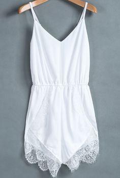 Adorable thin strap white lacy mini dress
