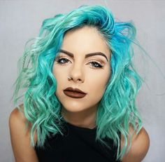 curly haircuts blue green hair color hair lob hair 5552