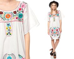 White MEXICAN Dress Embroidered Tunic Mini Boho by ShopExile, $43.00