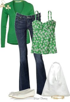 Irish bliss!  I Love this.  The color of green is bright and vibrant. Love this entire outfit, would want maybe a capri pant or skinny jean but in same dark wash color.