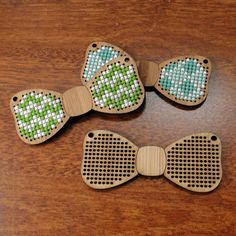 Bow Tie Cross Stitch Pendant blank in bamboo  stitch by Beadeux, $9.00
