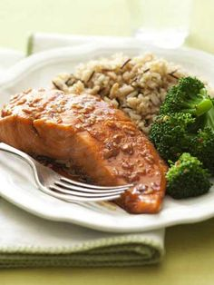For a quick and healthful meal, try this salmon baked with fresh ginger, honey, and soy sauce.  Balancing out the plate are whole grain pilaf and sautéed broccoli.