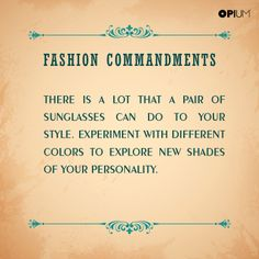 #FashionCommandments A little experimentation never hurt anyone. A lot of experimentation always benefited several.