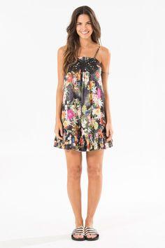 vestido laco floral gabi