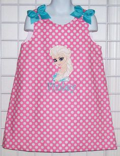 Elsa Snow Queen from Frozen Applique Monogram Pink Polka Dot A-line Dress Frocks For Girls, Little Girl Dresses, Girls Dresses, Applique Monogram, Monogram Shirts, Applique Ideas, Sewing Kids Clothes, Sewing For Kids, Frozen Birthday Outfit