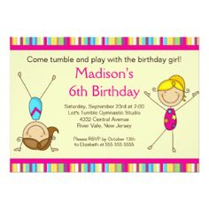 1903 best kids birthday invitations images on pinterest in 2018 fun gymnastics kids birthday party invitation filmwisefo