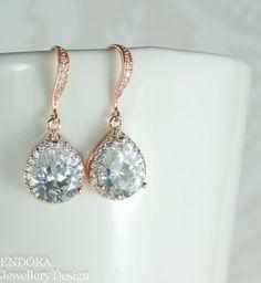 Bridal earrings Rose gold teardrop bridal earrings by #EndoraJewellery