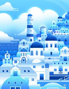 The llustration of city(blue) on Behance