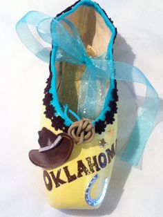 Oklahoma   Decorated Pointe Shoe by JazzedUpPointes on Etsy