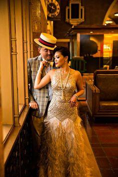 vintage glam love the dress Harlem Renaissance Fashion, Renaissance Wedding, Gatsby Wedding, Art Deco Wedding, Elegant Wedding, Wedding Themes, Roaring 20s Birthday Party, 30th Birthday, Harlem Nights Theme Party