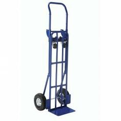 """Steel 2 In 1 Convertible Hand Truck With Pneumatic Wheels by Global Industrial. $145.95. HEAVY-DUTY STEEL 2 IN 1 CONVERTIBLE HAND TRUCK Versatile truck converts in seconds from a 55""""H hand truck to a convenient platform truck. Heavy duty 3/4"""" dia. structural steel pipe frame with 14 gauge steel platform. Large 14"""" x 8"""" beveled noseplate has integral wheel guards to help protect merchandise. Platform position offers 43""""L x 14""""W bed, 42""""H handle, 3"""" rubber swivel casters and ..."""