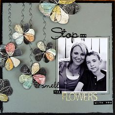 #papercraft #scrapbook #layout basic grey out of print fussy cut flowers, machine stitched vines.