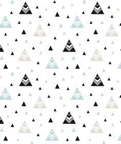 Papier peint enfant montagnes noir et turquoise