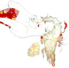 Terra // Final Fantasy IX by Yoshitaka Amano - Frauen Haar Modelle Final Fantasy Iv, Final Fantasy Cosplay, Final Fantasy Tattoo, Final Fantasy Artwork, Game Character Design, Character Art, Terra Branford, Yoshitaka Amano, Drawn Art