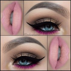 A hint of fuchsia under bottom lash lines and a pale pink lip