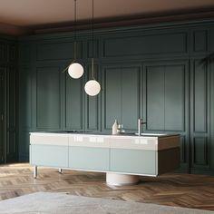 cocina moderna / de madera / de vidrio / con isla