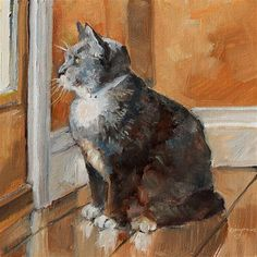 """""""Let the Cat Out"""" - Original Fine Art for Sale - © Carlene Dingman Atwater"""