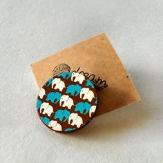 Elephant Brooch - Wooden Brooch - Unique Handmade Gift - Cute Animal Brooch in Blue and Brown