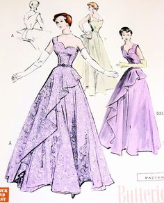 1950s Gorgeous Evening Gown Pattern Quick n Easy Butterick 5312 Formal Occasions Gown Unique Scalloped Neckline, Skirt With Tapered Drape Cascades One Shoulder Version Breathtaking Design Bust 32 Vintage Sewing Pattern