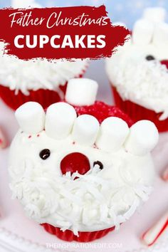 These Father Christmas Cupcakes are easy to make and definitely delicious. Perfect for your Christmas dessert or gift for family and friends. Recipe is available at The Inspiration Edit #partyfood #christmasfood #christmascupcakes #santacupcakes #cupcakes #fatherchristmas #santa #partyfoodideas #christmasparty #christmasrecipes #kidspartyfood #christmastreats Christmas Recipes For Kids, Edible Christmas Gifts, Christmas Side Dishes, Cute Christmas Gifts, Christmas Party Food, Christmas Breakfast, Christmas Cupcakes, Father Christmas, Christmas Desserts
