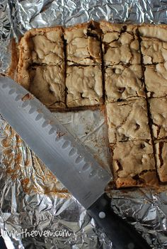 Thick and chewy choc chip cookie bar by lovintheoven, via Flickr
