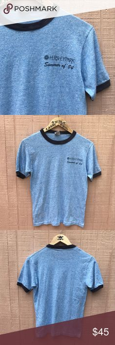 VINTAGE | LADIES | blue HERSHEY PARK Ringer tee VINTAGE | 1984 | blue HERSHEY PARK ringer T-shirt   Size medium  Soft, thin. Awesome top. In excellent condition.  MY LOSS IS YOUR GAIN. Vintage Tops Tees - Short Sleeve