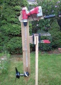 Redneck boat motor. HEEHEE but my husband saids you laugh but there is a guy who is making them or of weed eaters Oh Boy!