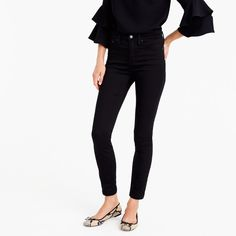 "9"" high-rise stretchy toothpick jean in new black, size 26"