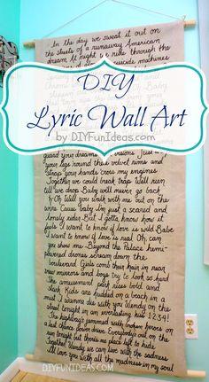 Make a fun DIY SONG LYRIC WALL ART on Drop Cloth. Tons more fun DIY's @ DIYFUNIDEAS.COM.