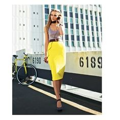 Loving the almost-fluorescent yellow! Knee length pencil skirt and a barely-there tank top. Talk about sophisticated sexiness. #love