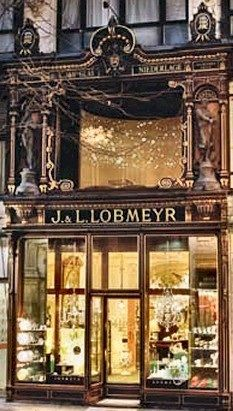 J & L LOBMEYR ~ Vienna, Austria. Beautiful old store front ~ looks like they sell china.