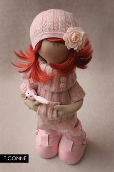 """Pinky"" by Tatiana Conne (http://beautifulthings-tatcon.blogspot.com/2011/04/pinky.html). #pinky #pink #tatiana_conne #art #doll #textiles #cute #red"