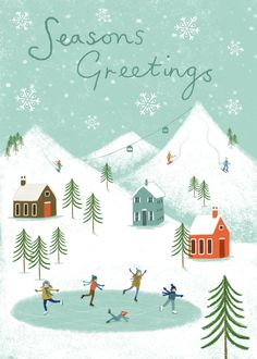 66 Ideas For Holiday Inspiration Quotes Christmas Cards Christmas Design, Christmas Art, Winter Christmas, Vintage Christmas, Christmas Decorations, Xmas, Christmas Ideas, Winter Illustration, Christmas Illustration