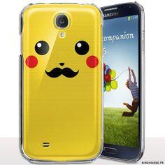 Coque rigide Samsung S4 mini Pica Moustaches, coque samsung s4 mini i9195. #coque #pikachu #moustaches #jaune #s4 #mini #i9195 #cover #whiskers