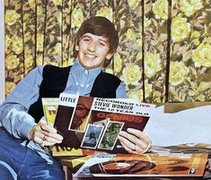Ringo listens to Stevie Wonder. Vintage vinyl...