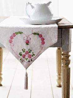 Hearts and Flowers Embroidered Table Runner